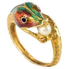 1970s 18 Karat Yellow Gold Cultured Pearl Enamel Snake Ring