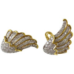 1970s 18 Karat Yellow Gold Wings with Diamonds Earring