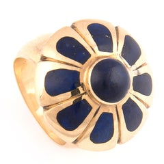1970s 18k Yellow Gold and Lapis Lazuli Flower Ring