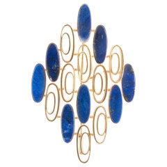 1970s 18k Yellow Gold and Lapis Lazuli Pendant Brooch