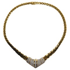 1970's 18K Yellow Gold Italian Necklace with Diamond Encrusted Chevron Center