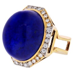 1970s 18 Karat Yellow Gold Large Lapis and Diamond Ring