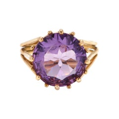 1970s 18 Karat Gold and Amethyst Ring