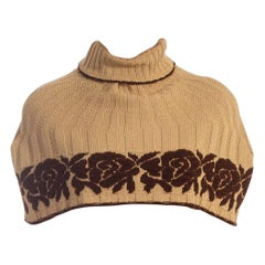 1970S Beige & Brown Wool Blend Knit Sweater Cape With Rose Intarsia