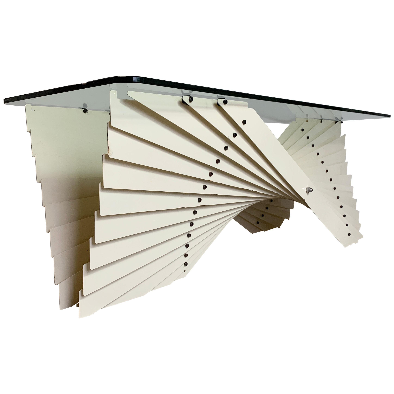 1970s-1980s Italian Origami Metal Coffee Table
