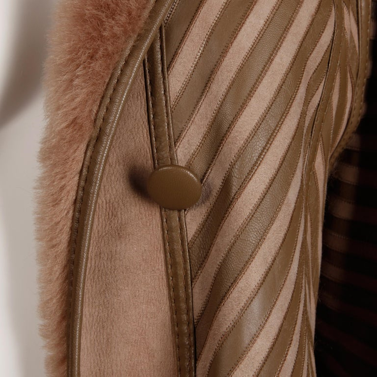 1970s-1980s Vintage Brown Leather + Sheepskin Chevron Shearling Fur Coat For Sale 7