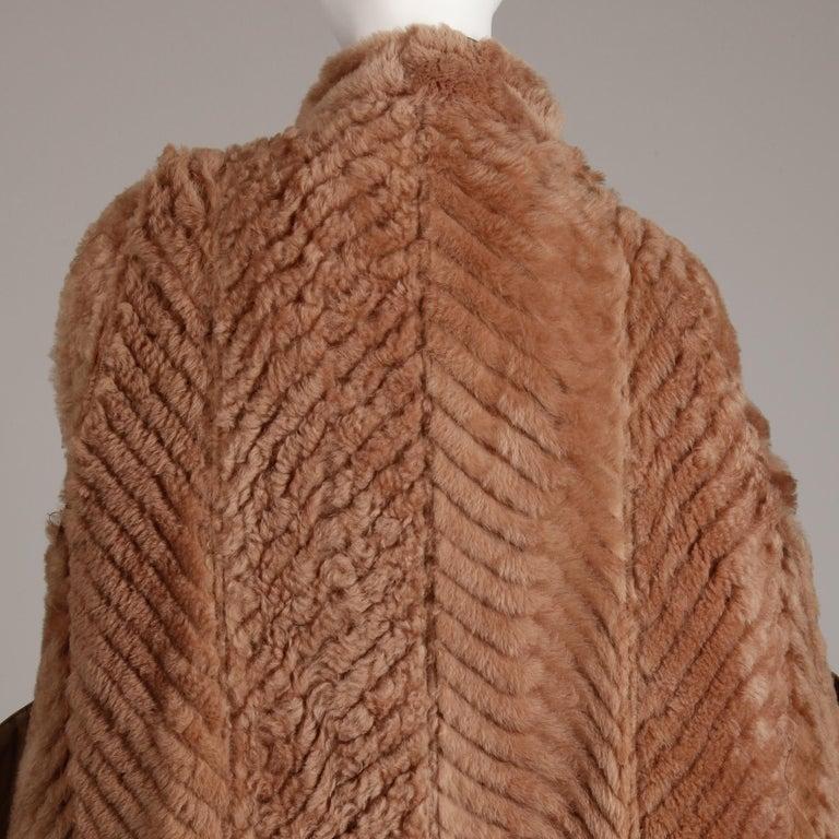 1970s-1980s Vintage Brown Leather + Sheepskin Chevron Shearling Fur Coat For Sale 8