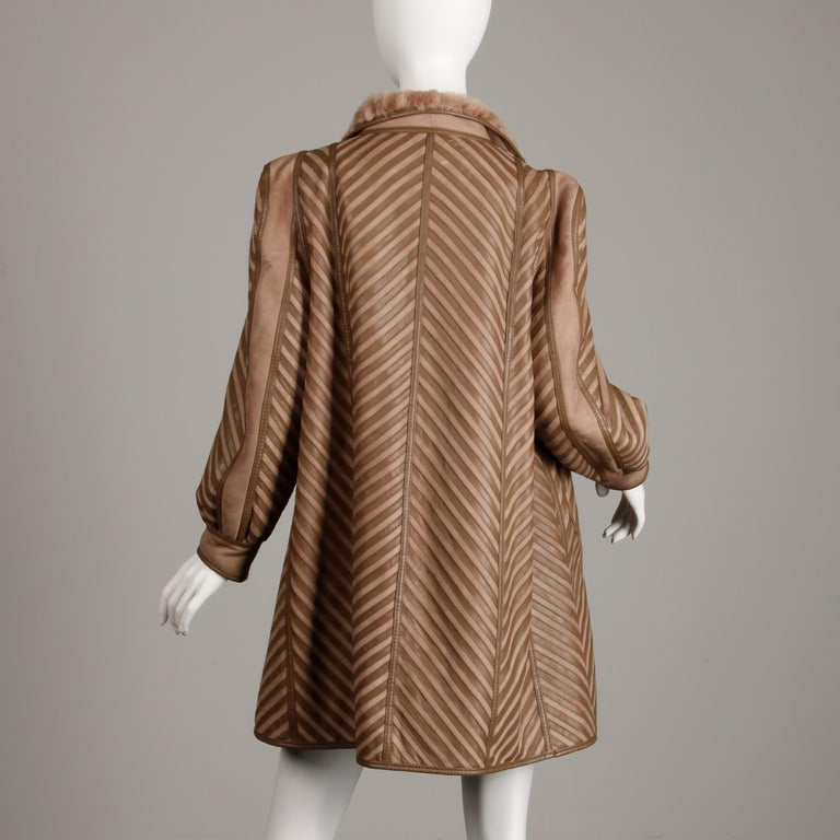 1970s-1980s Vintage Brown Leather + Sheepskin Chevron Shearling Fur Coat In Excellent Condition For Sale In Sparks, NV
