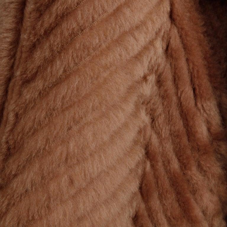 Women's 1970s-1980s Vintage Brown Leather + Sheepskin Chevron Shearling Fur Coat For Sale