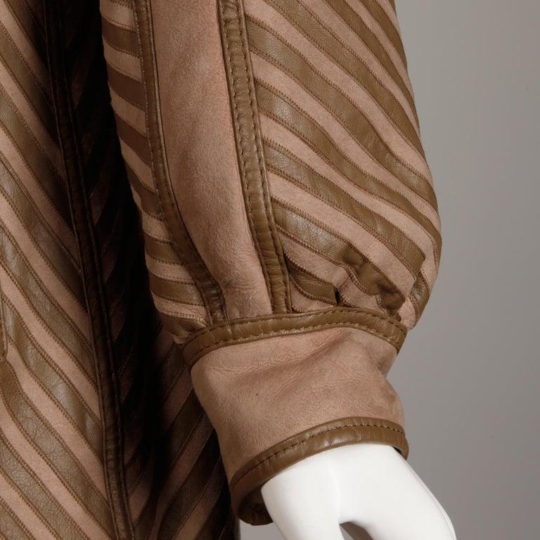 1970s-1980s Vintage Brown Leather + Sheepskin Chevron Shearling Fur Coat For Sale 3