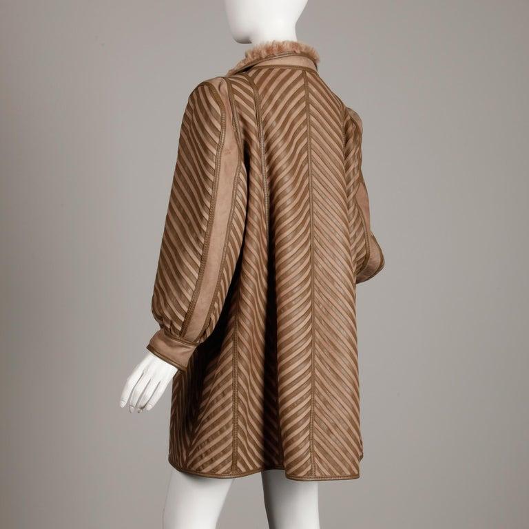 1970s-1980s Vintage Brown Leather + Sheepskin Chevron Shearling Fur Coat For Sale 4