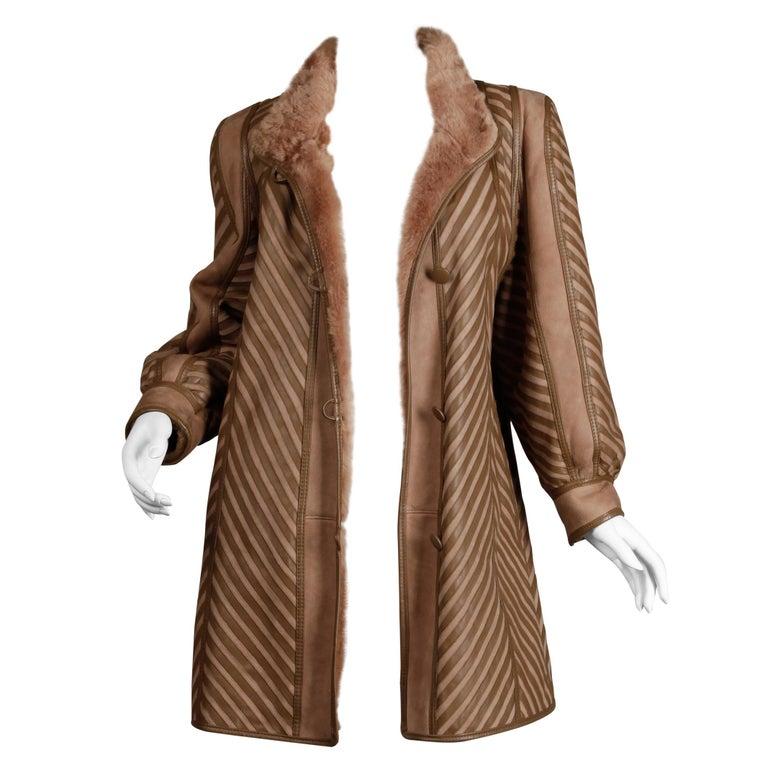 1970s-1980s Vintage Brown Leather + Sheepskin Chevron Shearling Fur Coat For Sale