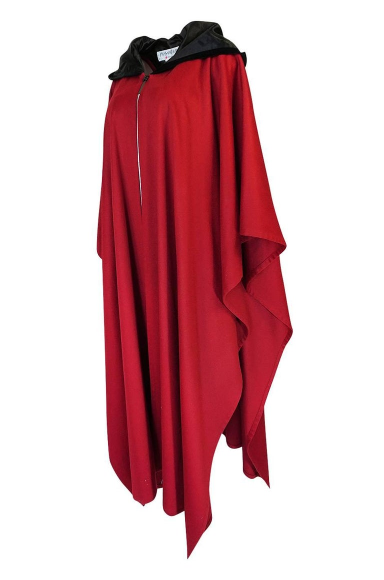 Women's 1970s-1980s Yves Saint Laurent Red Wool Cape with Black Velvet Hood For Sale