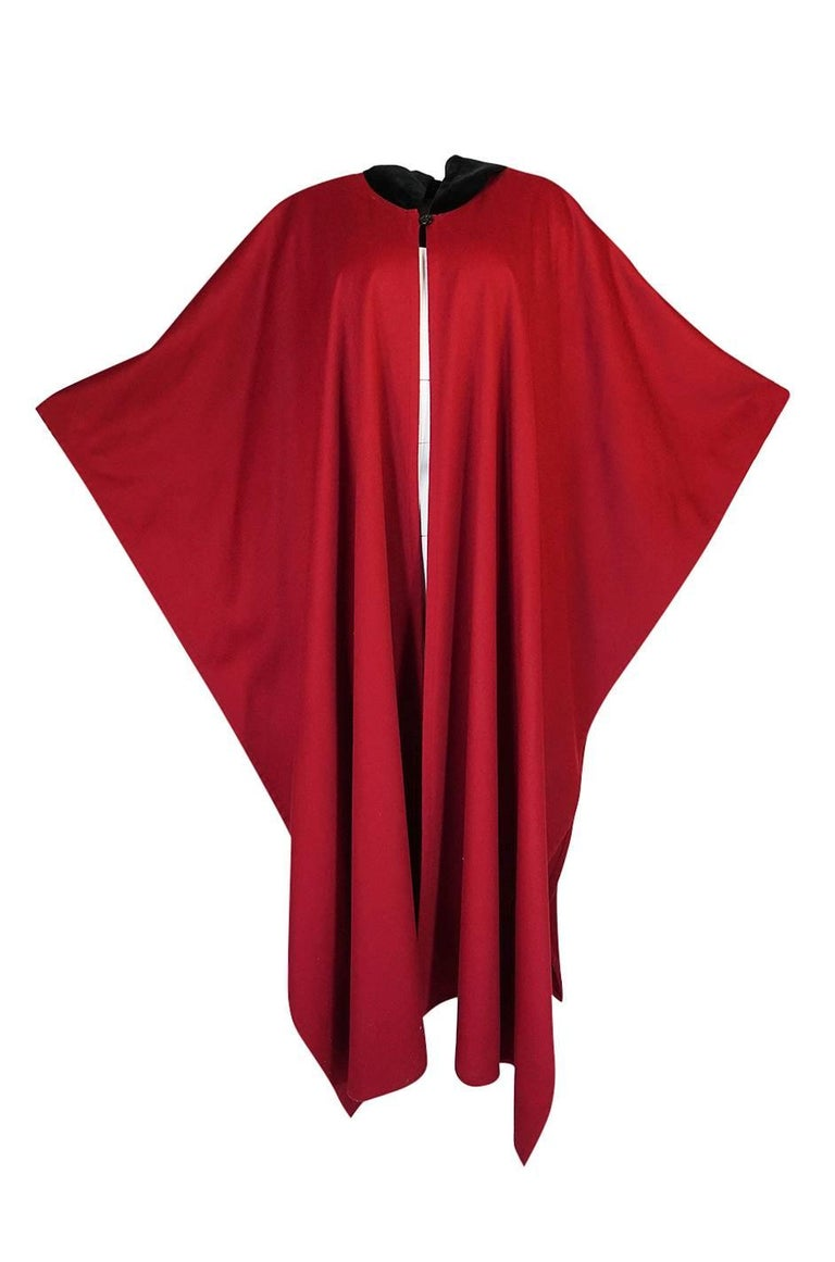 1970s-1980s Yves Saint Laurent Red Wool Cape with Black Velvet Hood For Sale 2