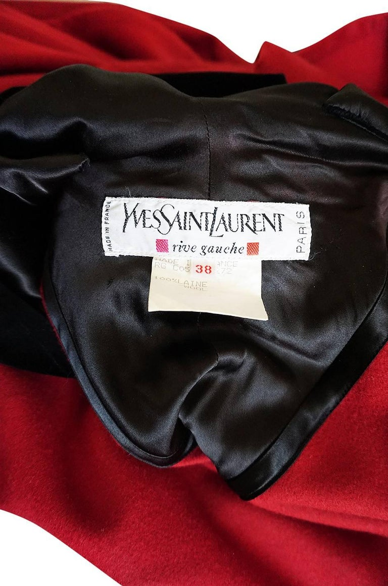 1970s-1980s Yves Saint Laurent Red Wool Cape with Black Velvet Hood For Sale 3
