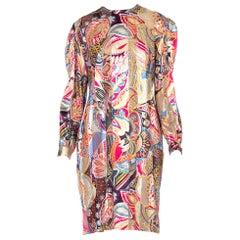 1970'S/1990'S Sheer Silk Chiffon + Satin Dress With Lurex And Metallic Silver An