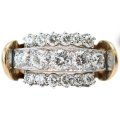 1970s 2 Carat Total Diamond and 18 Karat Gold Two-Tone Cluster Ring