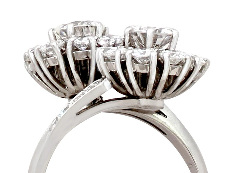 An impressive vintage 1970's 2.40 carat diamond and 18k white gold twist style dress ring; part of our diverse antique jewellery and estate jewelry collections.  This fine and impressive vintage diamond twist ring has been crafted in 18k white