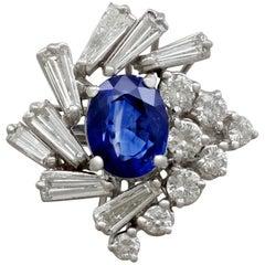 1970s 2.45 Carat Sapphire 2.23 Carat Diamond Gold Cocktail Ring