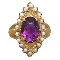 1970s 2.51 Carat Amethyst and Seed Pearl Yellow Gold Cocktail Ring