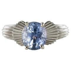 1970s 2,80 Carat No Heat Ceylon Sapphire Platinum Ring