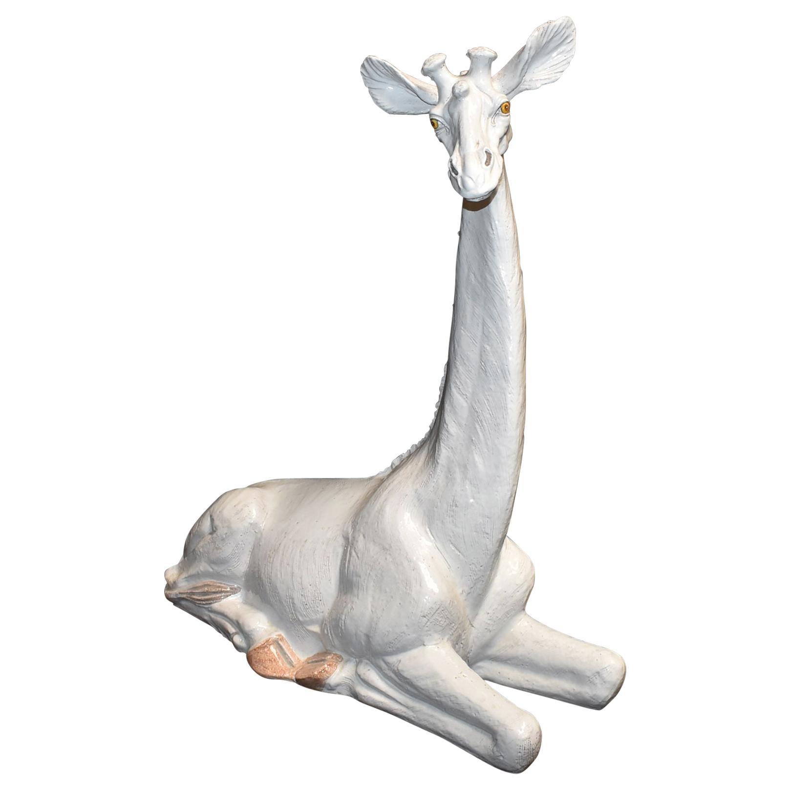 1970s Italian Terracotta Giraffe Sculpture