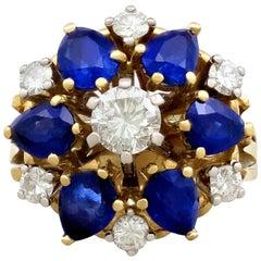 1970s 4.45 Carat Sapphire 1.15 Carat Diamond Yellow Gold Cocktail Ring