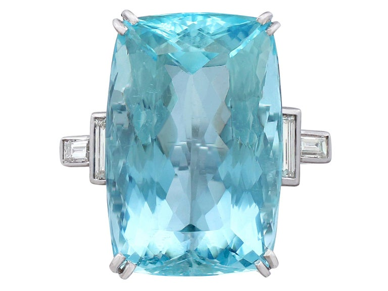 Retro 1970s 45.09 carat Aquamarine and Diamond White Gold Cocktail Ring For Sale
