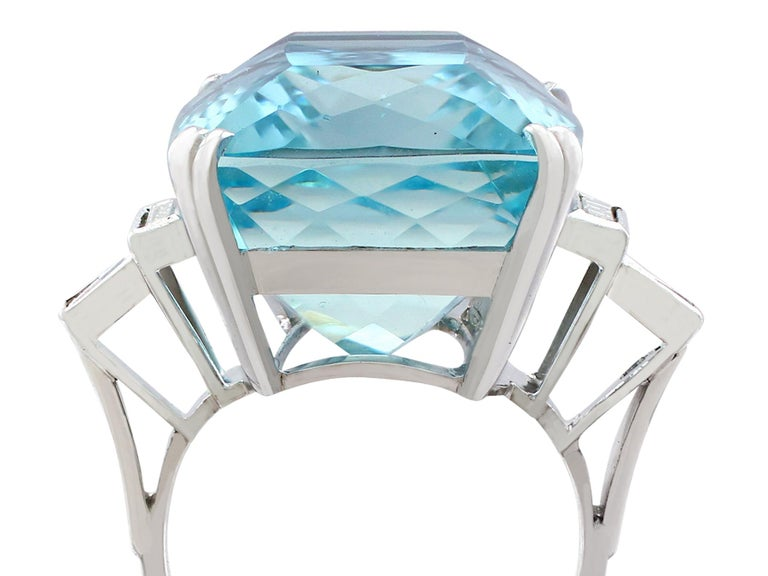 Cushion Cut 1970s 45.09 carat Aquamarine and Diamond White Gold Cocktail Ring For Sale