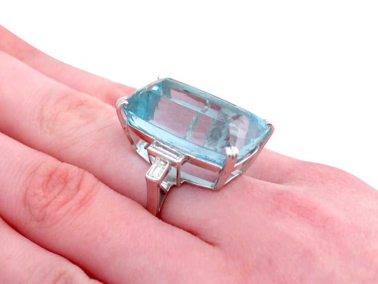 1970s 45.09 carat Aquamarine and Diamond White Gold Cocktail Ring For Sale 2