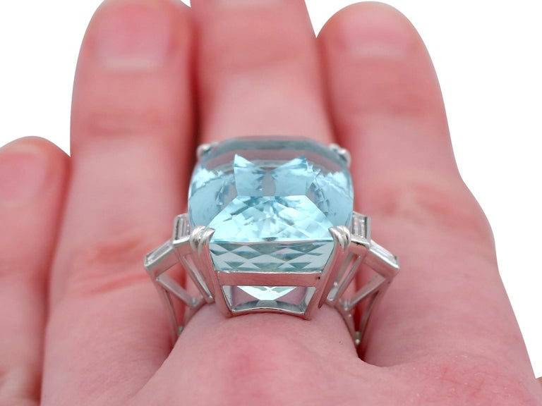 1970s 45.09 carat Aquamarine and Diamond White Gold Cocktail Ring For Sale 3
