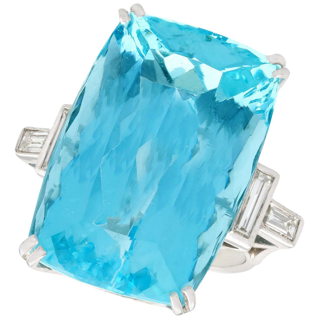 1970s 45.09 Carat Aquamarine Diamond White Gold Cocktail Ring