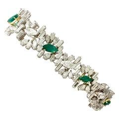 1970s 4.63 Carat Emerald and 16.27 Carat Diamond Platinum and Gold Bracelet