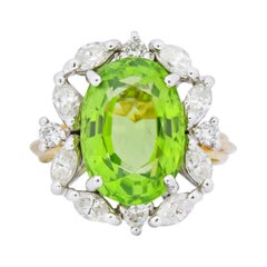 1970s 4.75 Carat Peridot Diamond 18 Karat Two-Tone Gold Cluster Ring