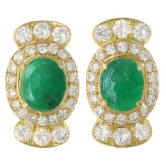 1970s 5.86 Carat Emerald and 4.32 Carat Diamond Yellow Gold Earrings
