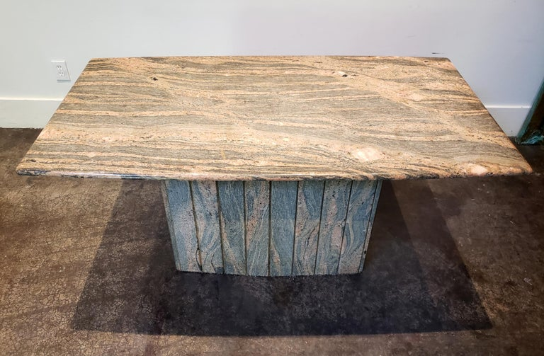 Modern 1970s-1980s Italian Pink and Grey Marble Console Table For Sale