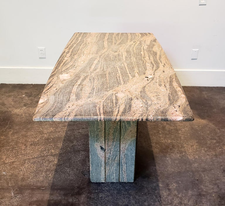1970s-1980s Italian Pink and Grey Marble Console Table In Good Condition For Sale In Dallas, TX