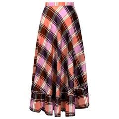1970s A-line Plaid Pattern Metallic Weave Skirt