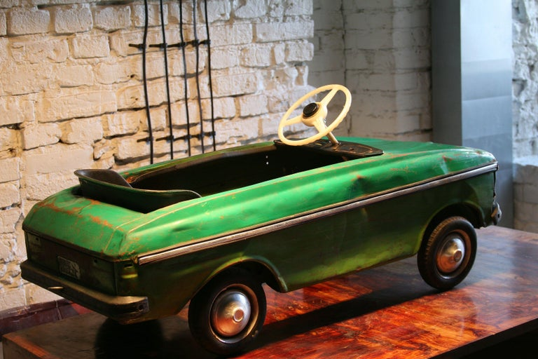 European 1970s a Metal Pedal Car Moskvich Azak For Sale