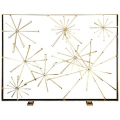 1970s a Sculptural Gilded Metal Firescreen by American Artist Del Williams