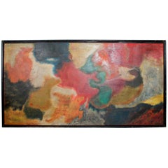 1970s Abstract Art Swirling Colors Acrylic on Wood Artist M. Chavez