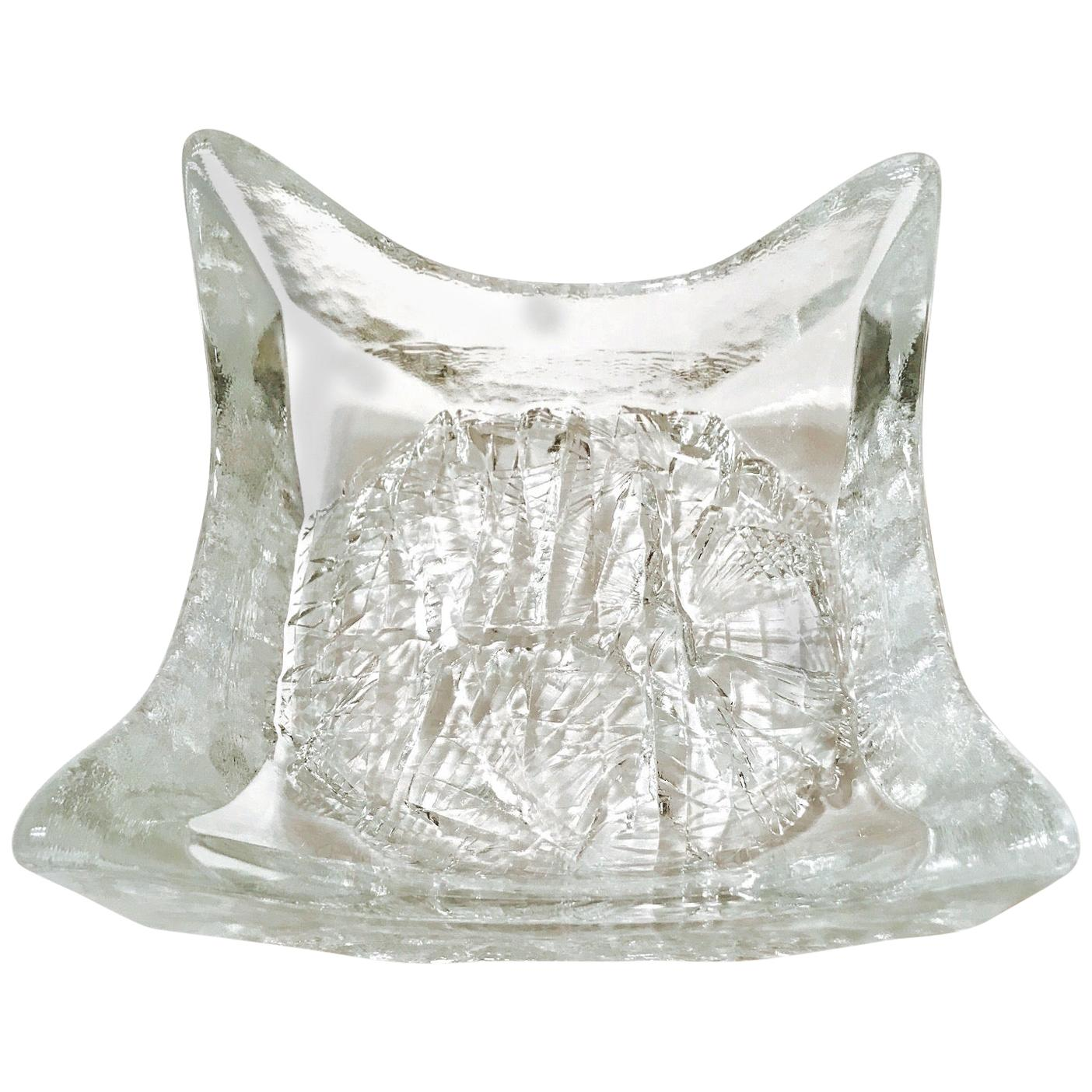 1970s Abstract Blown Glass Bowl with Icicle Design by Tapio Wirkkala, Finland