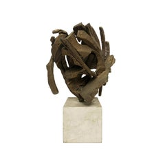1970s Abstract Bronze Sculpture on Stone Base