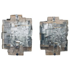 1970s Abstract Geometric 3 Dimensional Glass & Brushed Chrome Wall Lights