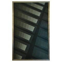 Geometric Abstract Painting by Ton Pape in Grey and Black