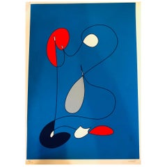 1970s Abstract Italian Midcentury Unframed Lithograph Signed & Numbered