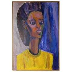 1970s Abstract Oil Painting Portrait of a Woman