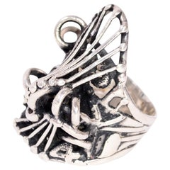 1970s Abstract Sterling Silver Brutalist OOAK Ring Attr to Metalsmith Lee Pek