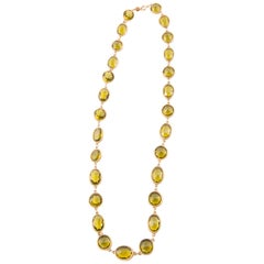 1970s Accessocraft NY. Yellow Crystal and Gold Tone Sautoir