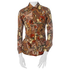 1970S Acrylic Jersey French Cabaret Conversational Print Shirt